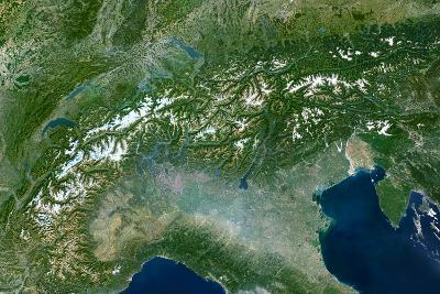 Satellite Image of the Alps, Europe