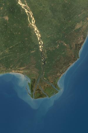 Satellite Image of Krishna River Delta, India