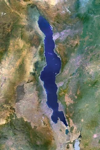 Lake Malawi Africa Map.Satellite Image Of Lake Malawi Africa Photographic Print At