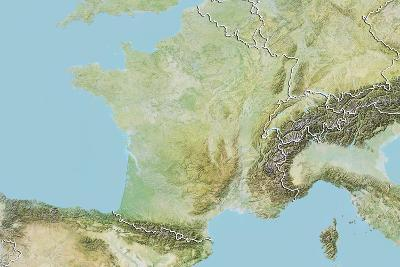 France, Relief Map with Border