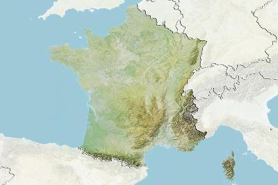 France, Relief Map with Border and Mask