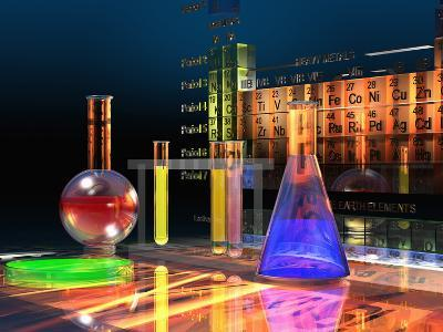 Illustration of the Periodic Table of the Elements Made from Glass Blocks with Laboratory Glassware