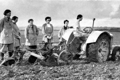 British Girls of the Women's Land Army Learning to Plough with a Tractor, World War II, 1939-1945