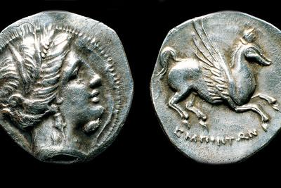 Drachma from Emporion, Obverse: Head of Persephone, Reverse: Pegasus