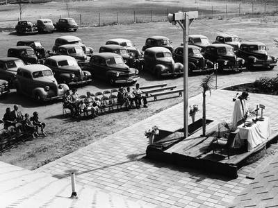 Outdoor Church Service with Cars Parked Behind, USA, 1950s