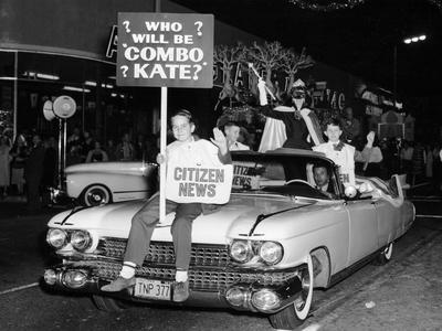 Fancy Dress Parade with a 1957 Cadillac, USA, (C1957)