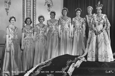 HM Queen Elizabeth II with Her Maids of Honour, the Coronation, 2nd June 1953