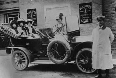 A Group of Ladies in a Car, with their Uniformed Chauffeur, 1910
