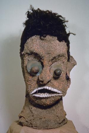 Hawaiian Mask with Human Hair