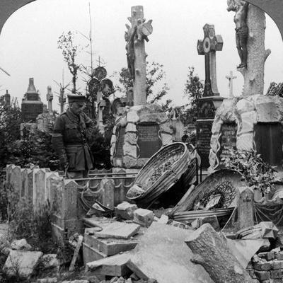 French Graves Smashed by German Shell Fire, France, World War I, 1914-1918