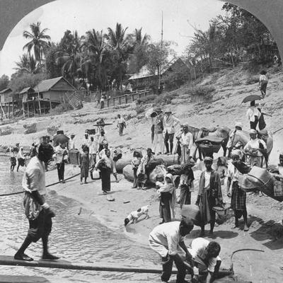 Passengers Embarking on an Irrawaddy Steamer, Mada, Rangoon, Burma, 1908