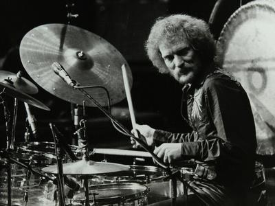 Drummer Ginger Baker Performing at the Forum Theatre, Hatfield, Hertfordshire, 1980