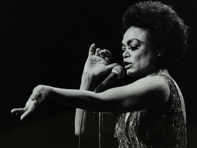 Eartha Kitt Performing at the Forum Theatre, Hatfield, Hertfordshire, 20 March 1983.