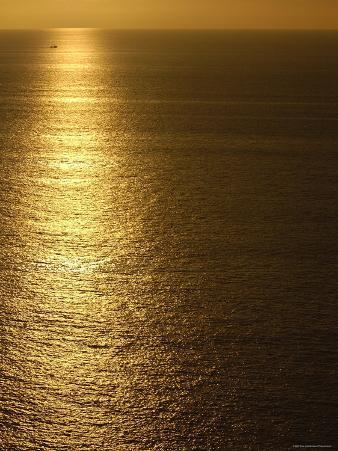 Fishing Boat in Distance on Sea at Sunset, Manabi Province, Ecuador