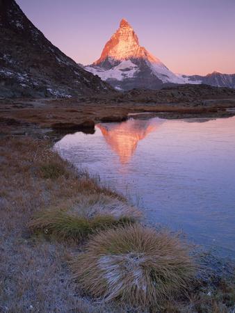 Matterhorn (4,478M) at Sunrise with Reflection in Riffel Lake, Wallis, Switzerland, September 2008