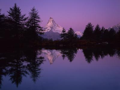 Matterhorn (4,478M) with Reflection in Grindji Lake at Sunrise, Wallis, Switzerland, September 2008