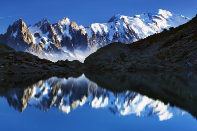 Mountain Landscape, Lac Blanc with Aiguilles De Chamonix, Mont Blanc at Right, Haute Savoie, France