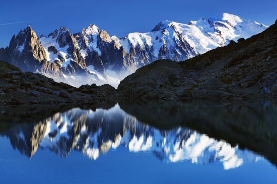 Mountain Landscape Lac Blanc With Aiguilles De Chamonix