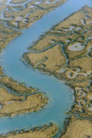 Water Channels Making Patterns in Saltmarsh, Seen from the Air. Abbotts Hall Farm, Essex, UK