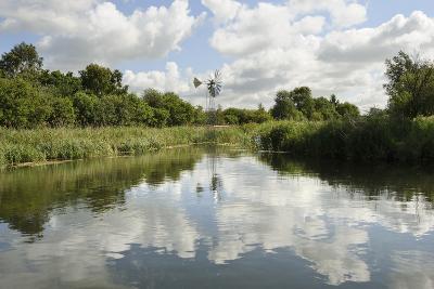 Modern Wind Pump for Pumping Water onto Wicken Fen, Cambridgeshire, UK, June 2011