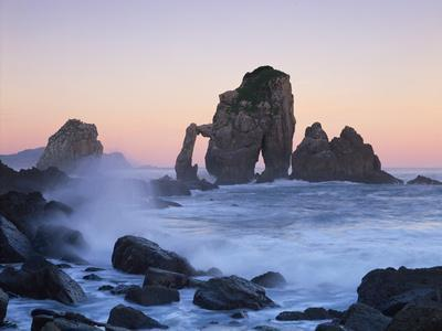 Rock Arches in the Sea, Gaztelugatxe, Basque Country, Bay of Biscay, Spain, October 2008