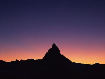Matterhorn (4,478M) Silhouetted at Sunset, Viewed from Gornergrat, Wallis, Switzerland, September
