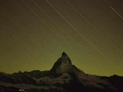 Matterhorn (4,478M) at Night, Long Exposure with Star Trails, Viewed from Gornergrat, Switzerland