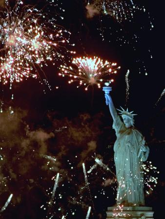 Fireworks Explode Around the Statue of Liberty