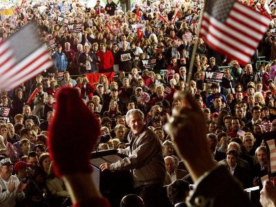 President Bush Receives Cheers as He is Introduced at a Campaign Rally at Post-Gazette Pavilion