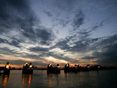 Sections Forming Part of the Thames Barrier are Illuminated after Sunset