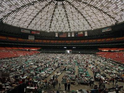 Evacuees from New Orleans Cover the Floor of Houston's Astrodome Saturday