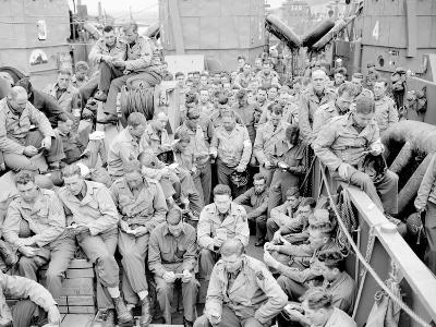 U.S. Serviceman Attend a Protestant Service Aboard a Landing Craft Before the D-Day Invasion