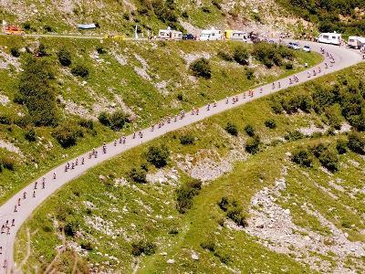 The Pack Rides Down the Glandon Pass During the 17th Stage of the Tour De France