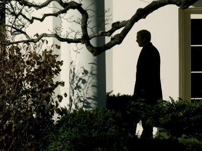 President Bush Walks out of the Oval Office to Make a Statement the South Lawn of the White House
