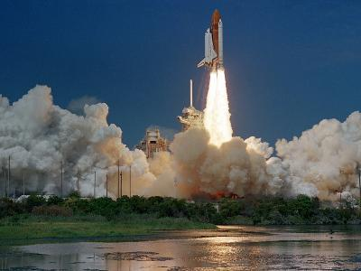 The Space Shuttle Discovery Rises from the Swamps Surrounding its Pad at Kennedy Space Center