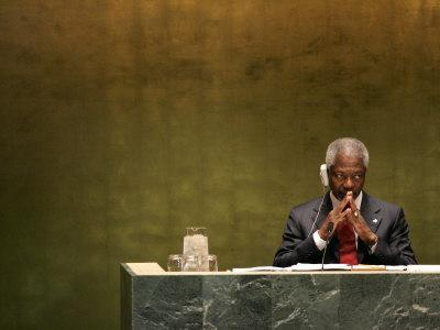 United Nations Secretary General Kofi Annan Listens to Statements Made by Members