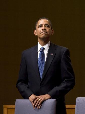 President Barack Obama Pauses During the Opening Ceremony of the Summit of the Americas