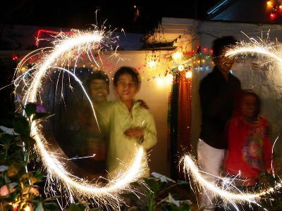 Children Light Firecrackers for the Hindu Festival of Diwali in New Delhi, India, Oct. 20, 2006
