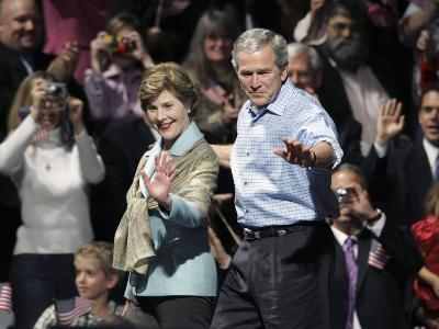 President Bush, Right, and First Lady Laura Bush Arrive for a Rally for Texas Governor Rick Perry