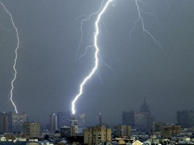Lightning Strikes in Moscow During a Violent Rain Storm
