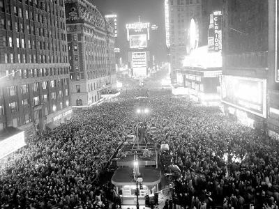 This Aerial View Shows New York's Times Square at Midnight