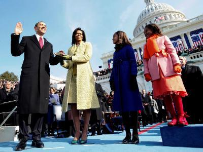 President Barack Obama Takes the Oath of Office with Wife Michelle and Daughters, Sasha and Malia
