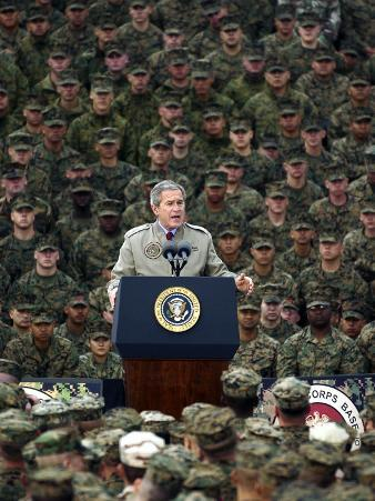 President Bush Speaks to Marines During a Visit to Camp Pendleton Base in San Diego