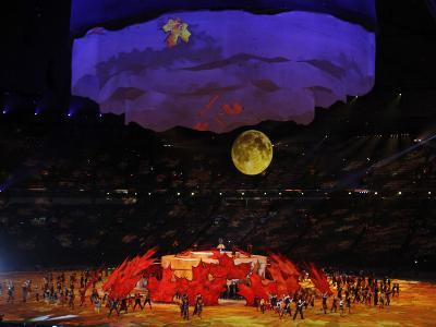 Performers Dance around Large Maple Leafs at Opening Ceremonies for Olympic Winter Games, Vancouver