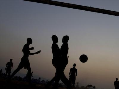 People Play Soccer at a Camp Set Up for Earthquake Survivors Left Homeless in Port-Au-Prince