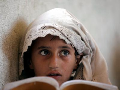 A Small Girl Takes Lessons at the Nangalam High School in Nangalam, Eastern Afghanistan