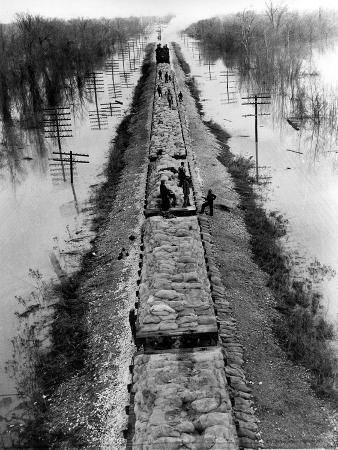 A Trainload of Sandbags is Transported to Line the Mississippi Mainline Levees