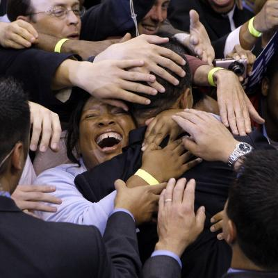 Barack Obama, Covered in Hands after His Primary Election Night Speech in St Paul, Minnesota