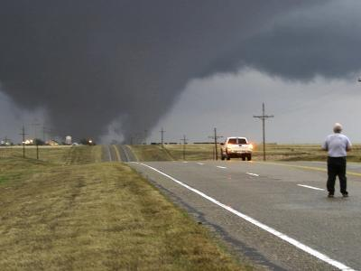 Driver Slows as a Tornado Crosses the Highway in Beaver County, Oklahoma