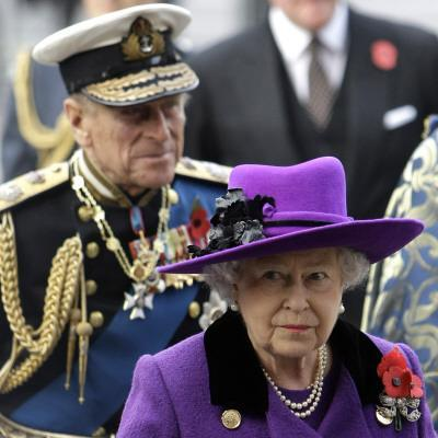 Queen Elizabeth II and Prince Philip Arrive for Remembrance Day Service, Westminster Abbey, London